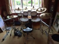 Tama Starclassic Maple 5 piece and Premier Snare plus 7 piece Sabian AAX Cymbals