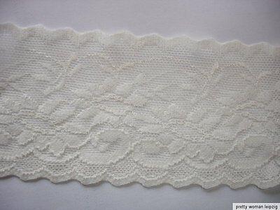 3 Lfm breite elastische Spitze 1,59€/m wollweiß 7,3cm breit TA77