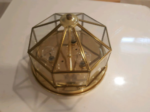 2 flush mount ceiling light in brass and glass