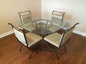 Brand new glass top table w/ leather chairs Cambridge Kitchener Area image 1