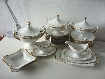 Hutschenreuther Frauenlob Art Deco Speiseservice Porzellan Gold Empire Stil