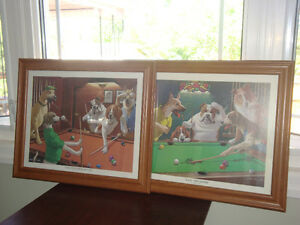 Pair of Framed Dogs Playing Pool Classic Art