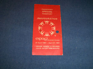 EXPO 67 INAUGURATION SPECIAL PASSPORT-4/27/1967-VINTAGE!