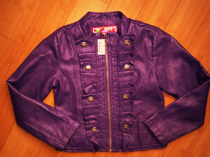 "Girls ""Doll House"" Faux Leather Purple Jacket - Size 6"