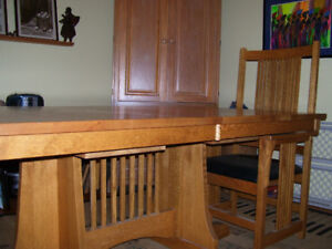 Solid Oak Dining Table (8.5'x3.5') & 2 Arm Chairs