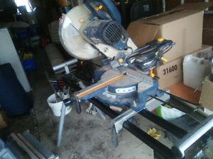 "Ryobi 10"" sliding compound mitre saw w/w stand"