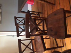 Pub style table and 4 chairs.