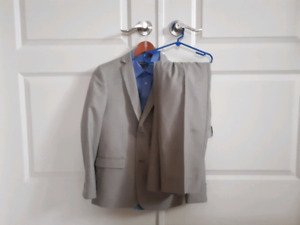 Brand new Boys grey suit and blue dress shirt!