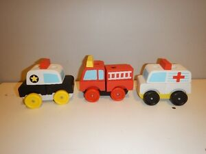 STACKING WOODEN RESCUE TRUCKS