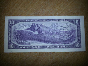 1954 10$ BILL IN GOOD CONDITION FOR BEING OVER 61 YEARS OLD!!!!! London Ontario image 2