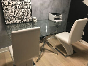 Modern Glass Table and Two Z Chairs