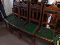 Set of four vintage wooden chairs
