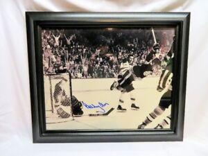 BOBBY ORR, Boston Bruins, Signed Framed 16x20 Photo, The Goal