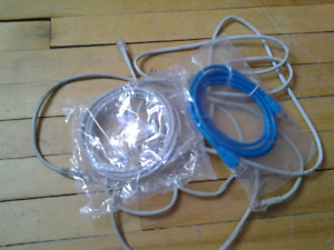 2 NETWORK CABLES ABOUT 6FT EACH AND PHONE LINE CABLE 3 FOR 2$