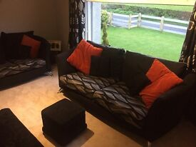 Excellent large 2 piece sofa with Foot Stool.