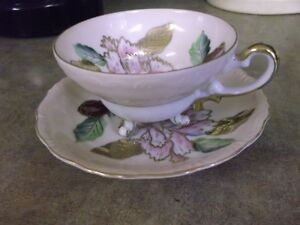Hand Painted Footed Teacup and Saucer
