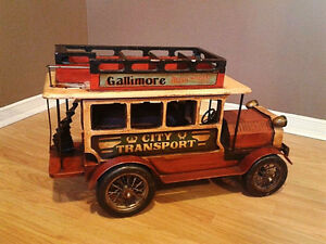 1940s Toy Wooden Bus And Fire Truck.