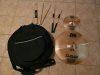 "18""+10"" Sabian B8 cymbals with Case + sticks"