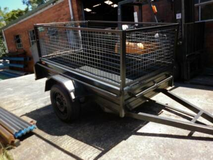 7x4 brand new heavy duty  box trailer+cage
