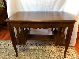 Antique library desk with chair