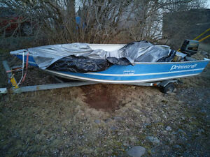 SOLD -  Aluminum 16 foot Princecraft boat. w/trailer etc.
