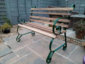 Garden Bench 4ft thick walnut wood hardwood & metal Extra large ends