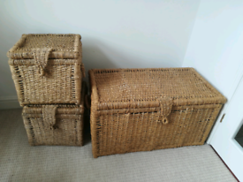Sea grass storage chest and boxes