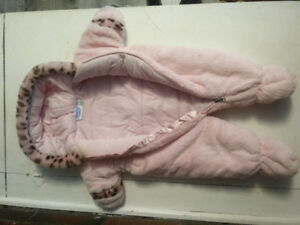 Pink snow suit with leopard trim. 3-6 mths, very warm.
