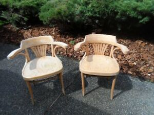 2 Maple arm chairs  (PUB STYLE)  (need refinish or painting)