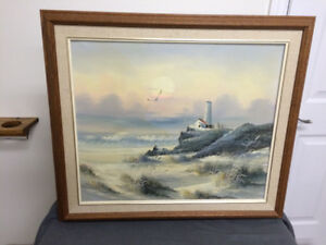 Beautiful Seascape Oil on Canvas Painting