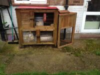 Double storey rabbit hutch, run and cover