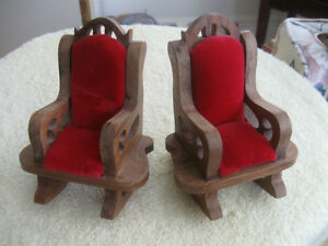 PAIR of BEAUTIFUL OLD VINTAGE MINIATURE VICTORIAN-STYLE ROCKERS