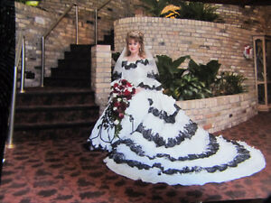 wedding dress/or costume to your hallowen ball, flowers and pew