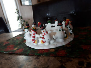 Snowman Three Wick Candle Holder