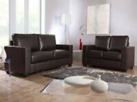 UNO LEATHER 3+2 SOFA BLACK OR CHOCOLATE BROWN BRAND NEW + DELIVERY