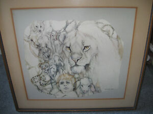Rare Large Frame Print Picture Lion