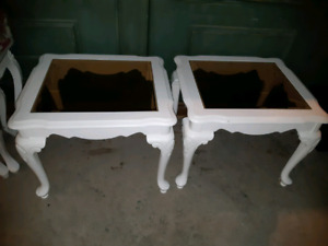 2 nice  white wooden with smoky glass top side tables.