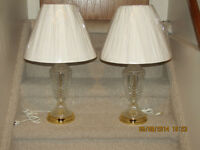 CRYSTAL LAMP SET - WHITE SHADES