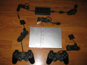Playstation 2 Slim Silver PS2 with 2 Controllers