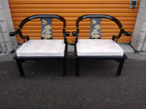 Pair of Oriental Black Lacquer Chairs + Free Delivery