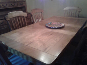 Rustic wood dining room table and matching hutch for sale