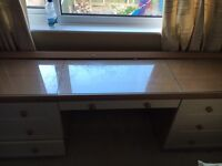 6 draw desk, white with glass top