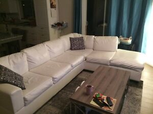 White faux leather sectional