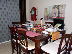 SOLID WOOD TABLE & 9 CHAIRS