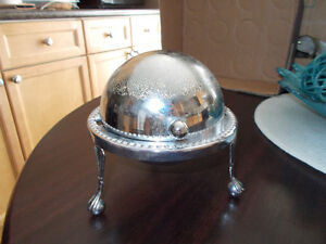 Silver Plated dRoll Top Butter Caviar Preservatives Dish old