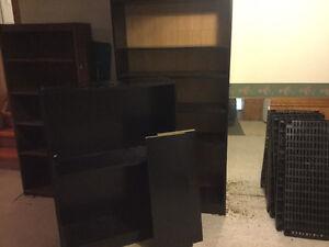 Black laminate bookshelves