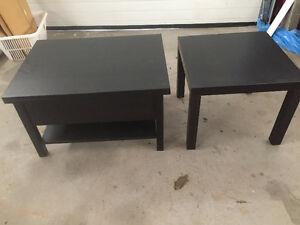 Coffee and end table both black
