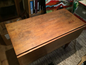 Antique yellow Britch drop leaf table