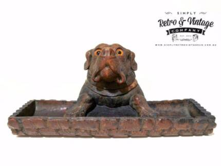 Antique  Black Forest Bulldog Inkwell Hand Carved Circa 1880s