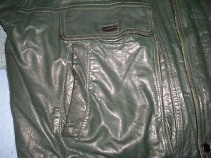 Emerald Leather Bomber Style Jacket size 46 (XXL)